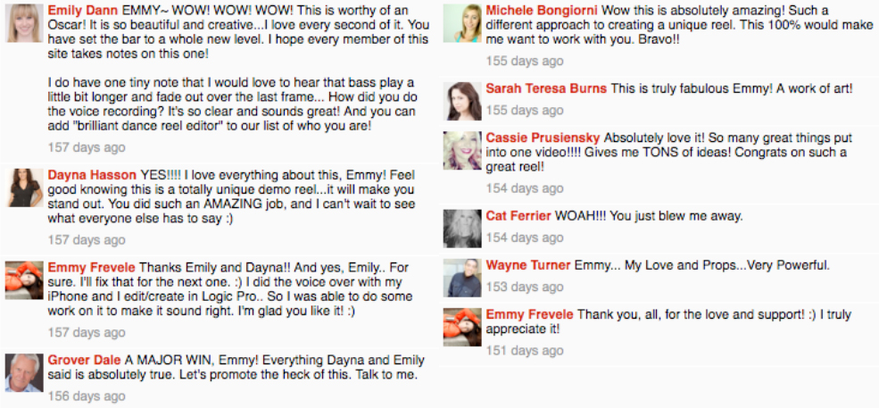 Emmy frev video comments