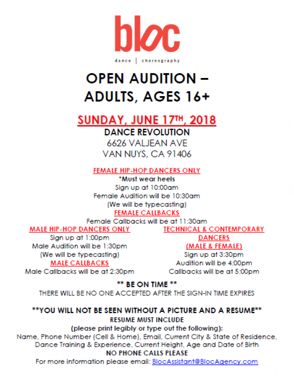 Open Adult Audition